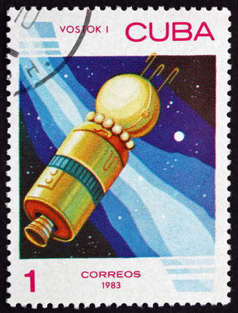 spaceflight: CUBA - CIRCA 1983: a stamp printed in the Cuba shows Vostok 1, the First Human Spaceflight in History, circa 1983