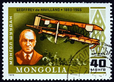 pioneer: MONGOLIA - CIRCA 1978: a stamp printed in Mongolia shows Geoffrey de Havilland and D. H. 66 Hercules, 1920�s, British Aviation Pioneer and Aircraft Engineer, circa 1978