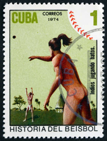 indian postal stamp: CUBA - CIRCA 1974: a stamp printed in the Cuba shows Indians Playing Ball, History of Baseball, circa 1974