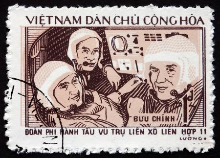 soyuz: VIETNAM - CIRCA 1972: a stamp printed in Vietnam shows Soyuz 11 Cosmonauts, circa 1972