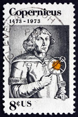 mathematician: USA - CIRCA 1973: a stamp printed in the USA shows Nicolaus Copernicus, Polish Mathematician and Astronomer, circa 1973