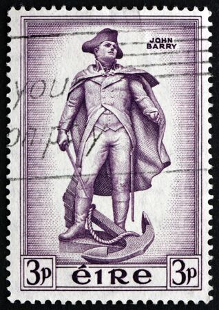 revolutionary war: IRELAND - CIRCA 1954: a stamp printed in the Ireland shows Statue of John Barry, an Officer in the Continental Navy during the American Revolutionary War, Wexford, Ireland, circa 1954 Editorial