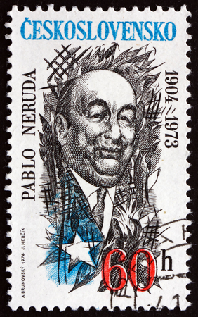 pablo neruda: CZECHOSLOVAKIA - CIRCA 1974: a stamp printed in the Czechoslovakia shows Pablo Neruda, Chilean Poet, circa 1974