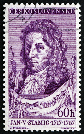 czechoslovakia: CZECHOSLOVAKIA - CIRCA 1957: a stamp printed in the Czechoslovakia shows Jan Vaclav Stamic, Czech Composer and Violinist, circa 1957