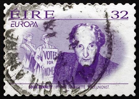 bennett: IRELAND - CIRCA 1996: a stamp printed in the Ireland shows Louie Bennett, Irish Suffragette, Trade Unionist and Writer, circa 1996 Editorial