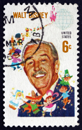 producer: USA - CIRCA 1968: a stamp printed in the USA shows Walt Disney, Cartoonist, Film Producer, Creator of Mickey Mouse, circa 1968