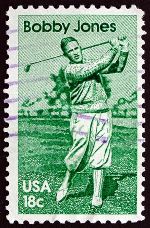 jones: USA - CIRCA 1981: a stamp printed in the USA shows Bobby Jones, Robert Tyre Jones, American Amateur Golfer, circa 1981