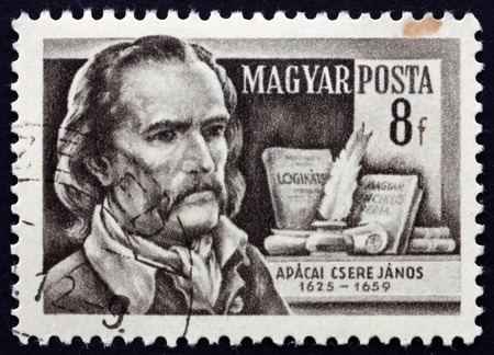 mathematician: HUNGARY - CIRCA 1954: a stamp printed in the Hungary shows Janos Apaczai Csere, Transylvanian Hungarian Polyglot and Mathematician, circa 1954 Editorial