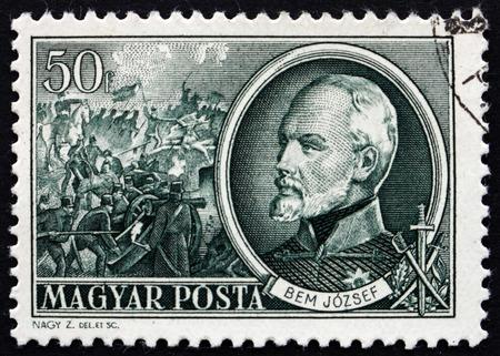 national hero: HUNGARY - CIRCA 1952: a stamp printed in the Hungary shows General Josef Bem, Polish General, an Ottoman Pasha and a National Hero of Poland and Hungary, circa 1952