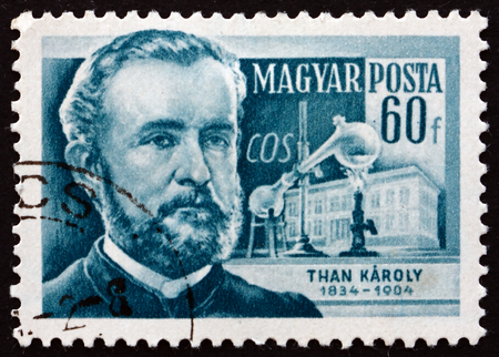discovered: HUNGARY - CIRCA 1954: a stamp printed in the Hungary shows Karoly Than, Hungarian Chemist who Discovered Carbonyl Sulfide, circa 1954 Editorial