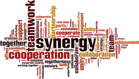 combined effort: Synergy word cloud concept. Vector illustration
