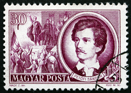poststempel: UNGARN - CIRCA 1952: einen Stempel in den Ungarn zeigt Sandor Petöfi, ungarische Dichter, circa 1952