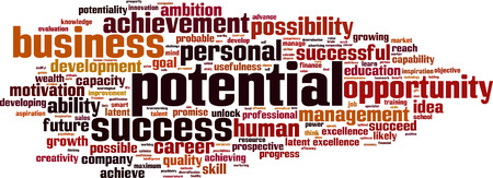potentiality: Potencial concepto de nube de palabras. Ilustraci�n vectorial