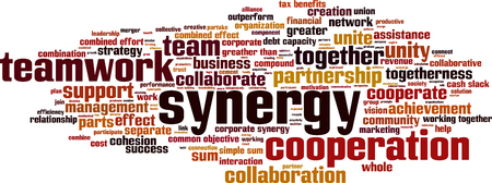 corporate team: Synergy word cloud concept. Vector illustration
