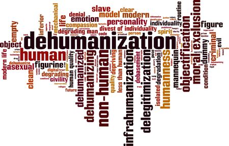inferior: Dehumanization word cloud concept. Vector illustration