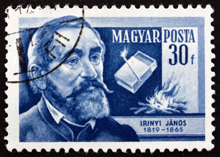 noiseless: HUNGARY - CIRCA 1954: a stamp printed in the Hungary shows Janos Irinyi, Hungarian Chemist and Inventor of the Noiseless and Non-explosive Match, circa 1954 Editorial