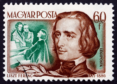 virtuoso: HUNGARY - CIRCA 1953: a stamp printed in the Hungary shows Franz Liszt, Hungarian Composer, Virtuoso Pianist and Conductor, circa 1953