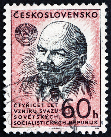 theorist: CZECHOSLOVAKIA - CIRCA 1962: a stamp printed in the Czechoslovakia shows Vladimir Illyich Lenin, Communist, Politician, circa 1962
