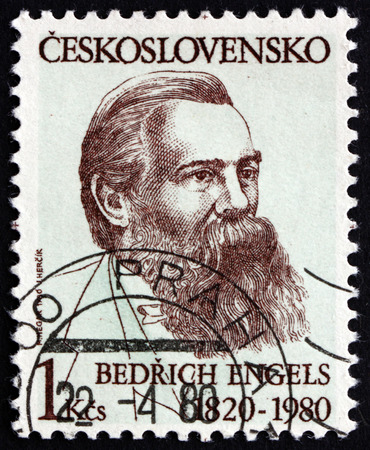 theorist: CZECHOSLOVAKIA - CIRCA 1980: a stamp printed in the Czechoslovakia shows Friedrich Engels, German Social Scientist, author, Philosopher, circa 1980
