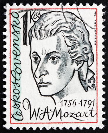 amadeus: CZECHOSLOVAKIA - CIRCA 1981: a stamp printed in the Czechoslovakia shows Wolfgang Amadeus Mozart, Composer, circa 1981 Editorial