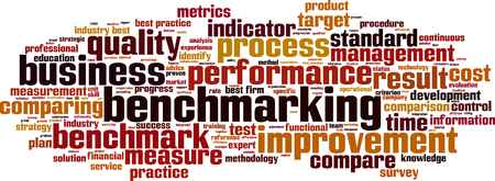 methodology: Benchmarking word cloud concept. Vector illustration