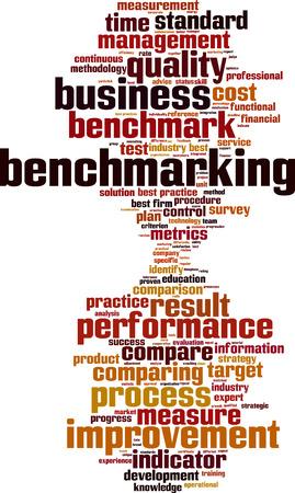 benchmark: Benchmarking word cloud concept. Vector illustration