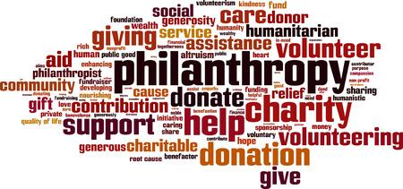 altruism: Palabra filantropía concepto de nube. Ilustración vectorial Vectores