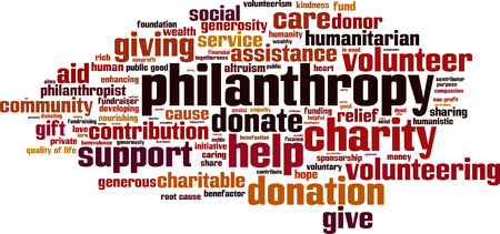 Philanthropy word cloud concept. Vector illustration