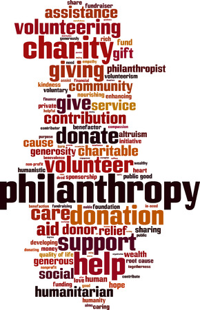 philanthropist: Philanthropy word cloud concept. Vector illustration