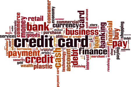 borrowing money: Credit card word cloud concept. Vector illustration Illustration