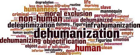 incarceration: Palabra deshumanizaci�n concepto de nube. Ilustraci�n vectorial Vectores