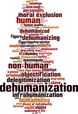 Dehumanization word cloud concept. Vector illustration