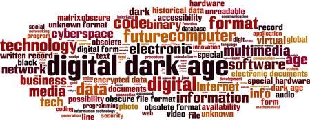 availability: Digital dark age word cloud concept. Vector illustration