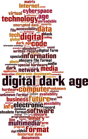 unreadable: Digital dark age word cloud concept. Vector illustration