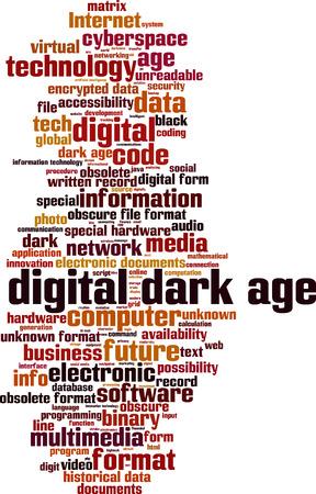Digital dark age word cloud concept. Vector illustration