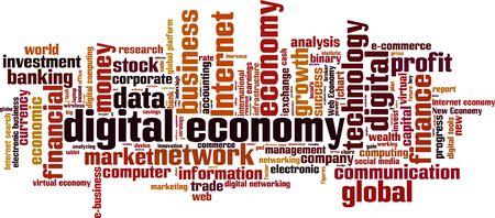 new economy: Digital economy word cloud concept. Vector illustration