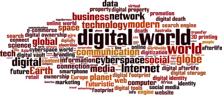 digital world: Digital world word cloud concept. Vector illustration