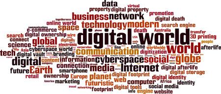 Digitale wereld woordwolk concept. Vector illustratie Stock Illustratie