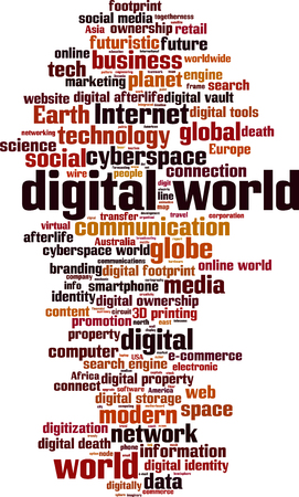 digitization: Digital world word cloud concept. Vector illustration