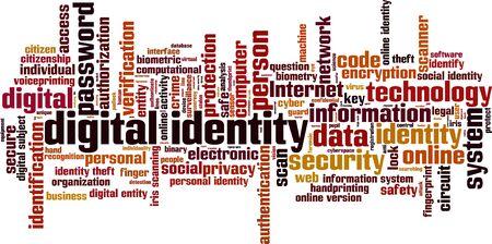 identidad personal: Identidad concepto de nube de la palabra digital. Ilustraci�n vectorial Vectores