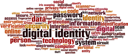 identity theft: Digital identity word cloud concept. Vector illustration Illustration