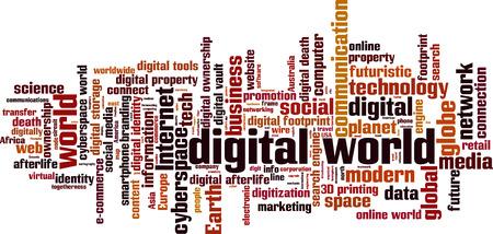 Digital world word cloud concept. Vector illustration