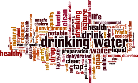 thirsty: Drinking water word cloud concept. Vector illustration