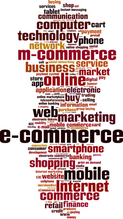 commerce electronique: Le commerce �lectronique notion mot de nuage. Vector illustration Illustration