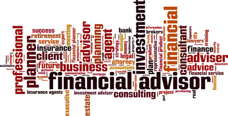 adviser: Financial advisor word cloud concept. Vector illustration