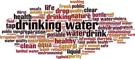 tomando agua: Beber agua palabra nube concepto. Ilustraci�n vectorial