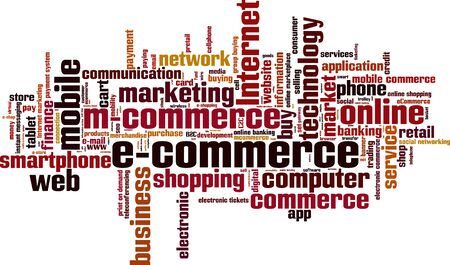 teleconferencing: Electronic commerce word cloud concept. Vector illustration Illustration