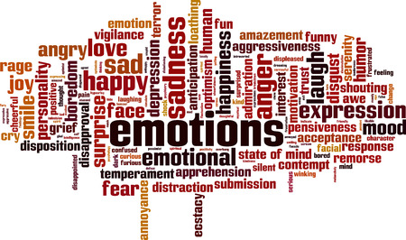 in amazement: Emotions word cloud concept. Vector illustration