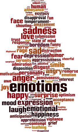 desprecio: Emociones palabra nube concepto. Ilustraci�n vectorial Vectores