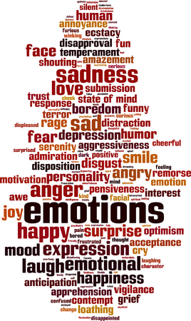 boredom: Emotions word cloud concept. Vector illustration